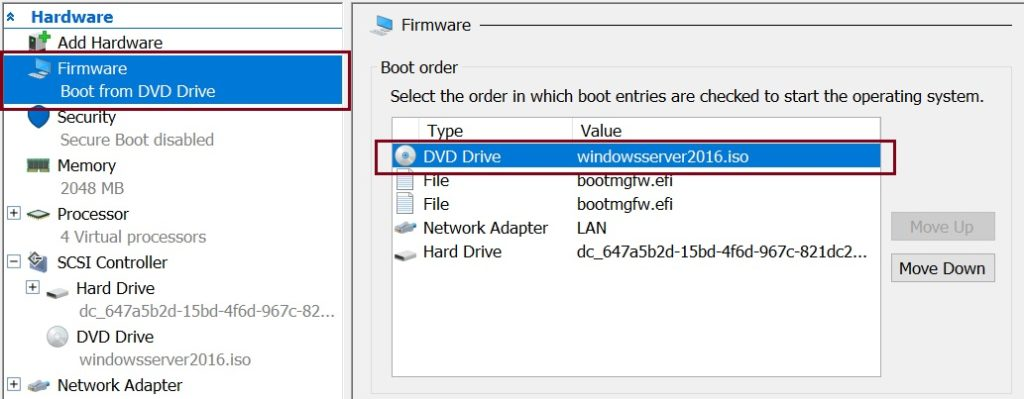 Move CD drive to the top in virtual machine