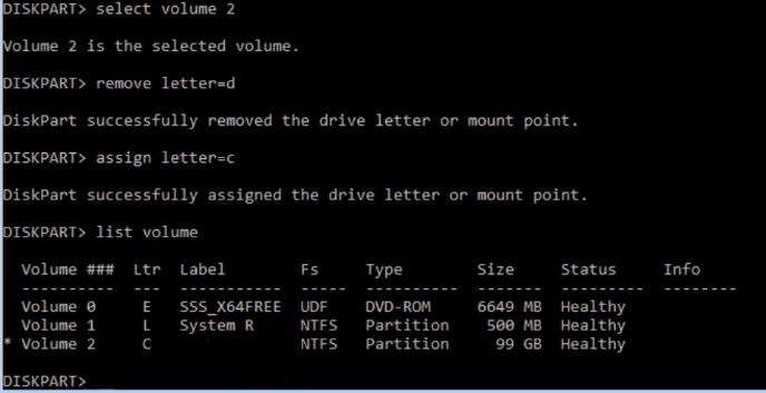 In volume 2 remove drive letter and assign C In virtual machine of Hyper-V
