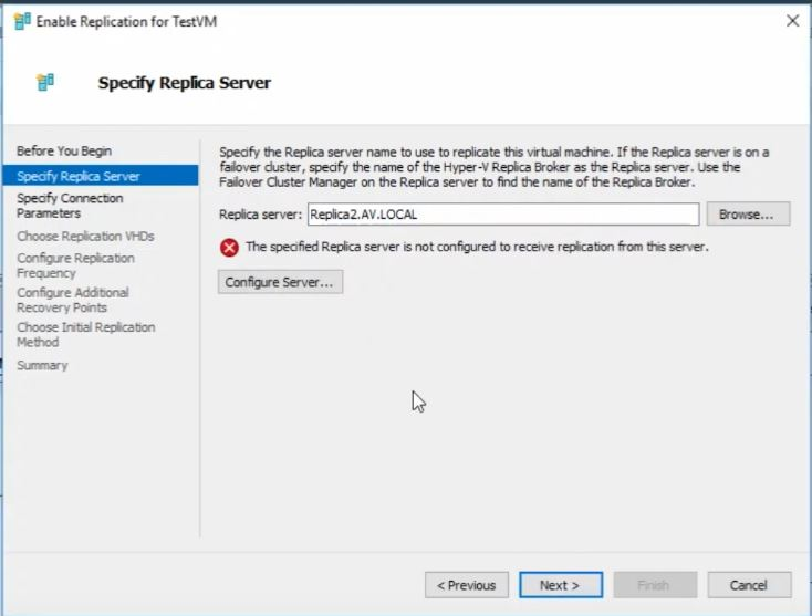Replication server not configured