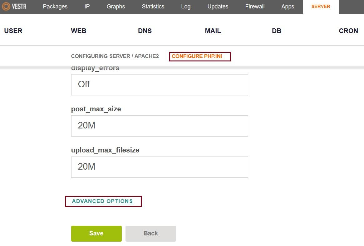 VestaCP Apache2 configure php.ini with advance options