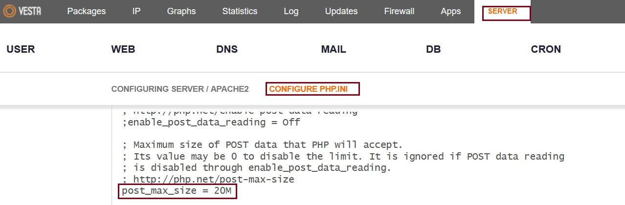 vestacp php.ini post_max_size for phpmyadmin