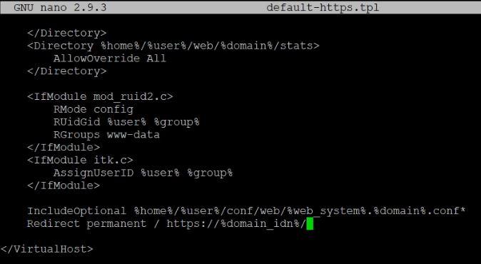 Vestacp apache2 redirect HTTPS
