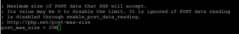 php.ini change post_max_size in vesta