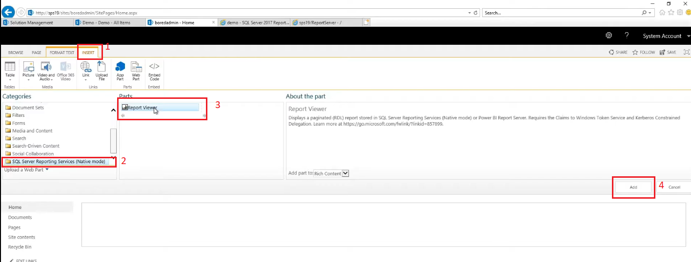 add report viewer web aprt to the page