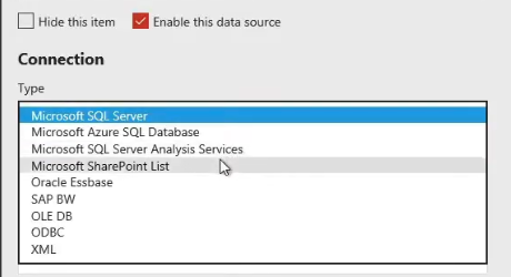 ssrs data source connection type