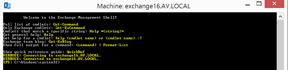 Exchange management shell connected