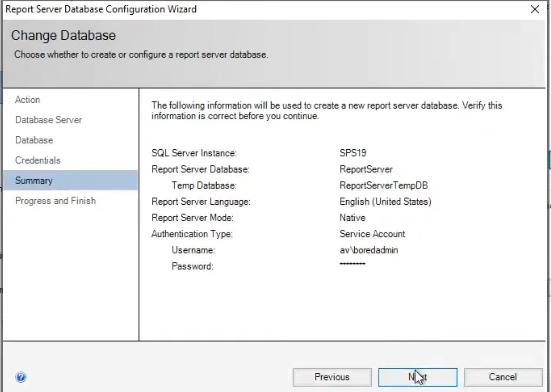 database configuration summary