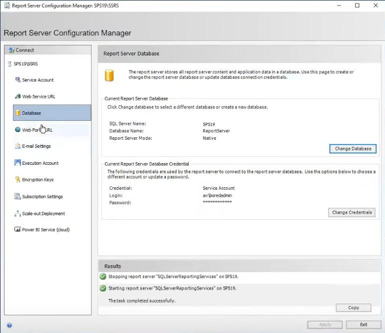 report server database status