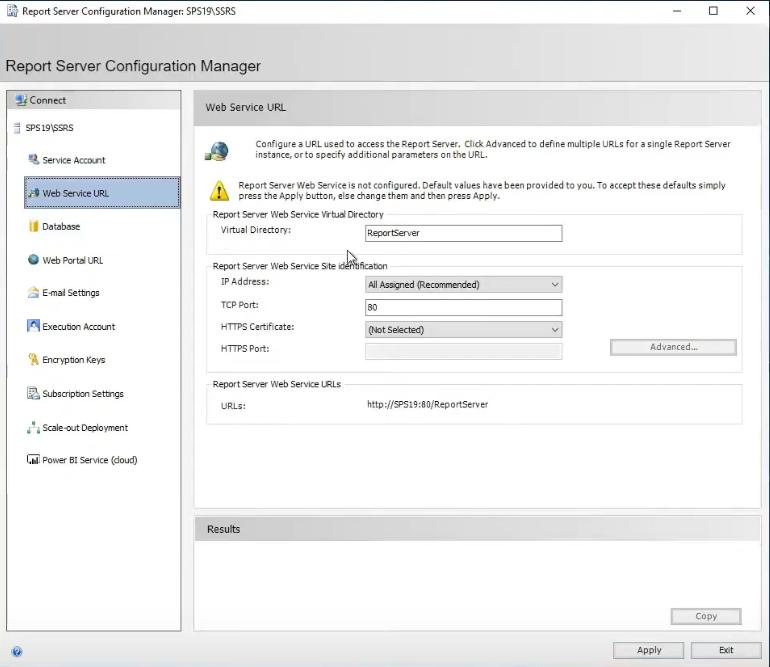 ssrs web service configuraton.