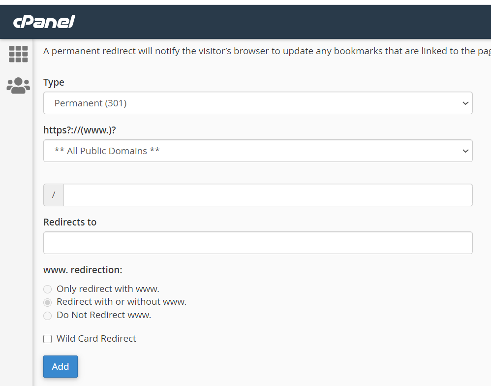 cPanel http to https redirect page