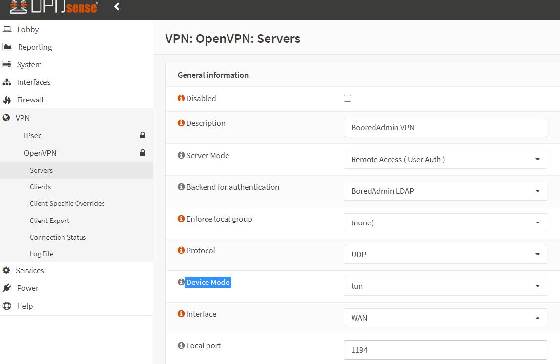 OpenVPN General Information section