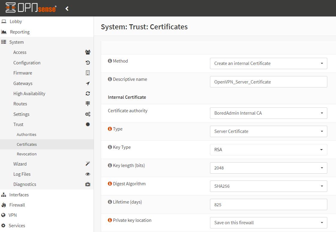 Create certificate OPNSense