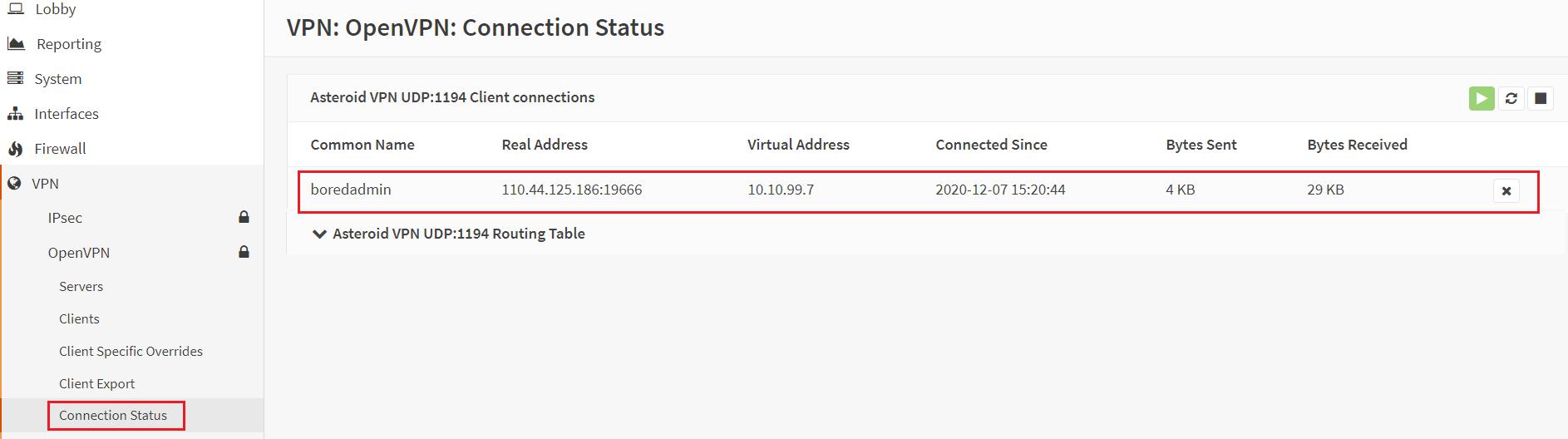 connection status of OpenVPN client