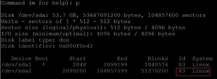Check new partition type