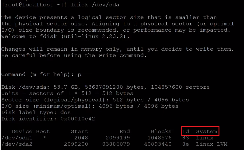 fdisk print the details