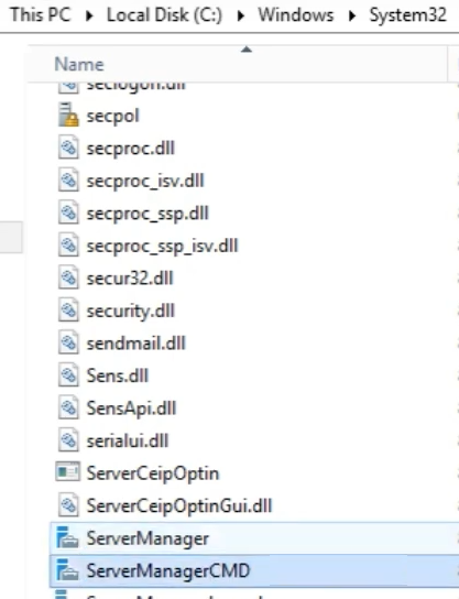 Rename to ServerManagerCMD.exe